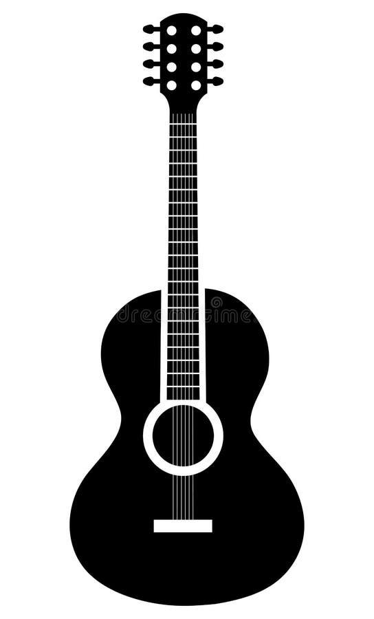 Akoestisch gitaarpictogram in zwart-witte kleuren royalty-vrije illustratie