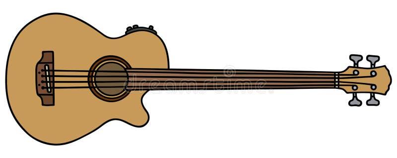 Akoestische fretless basgitaar vector illustratie