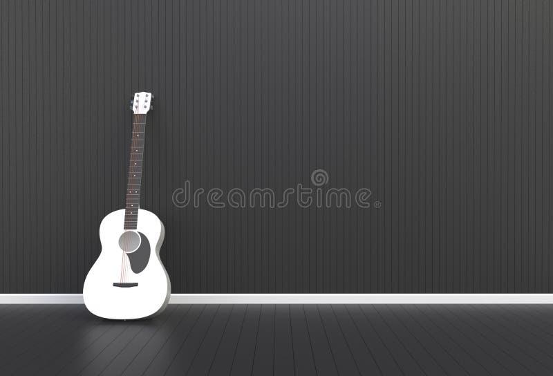 Akoestische gitaar in een zwarte ruimte vector illustratie