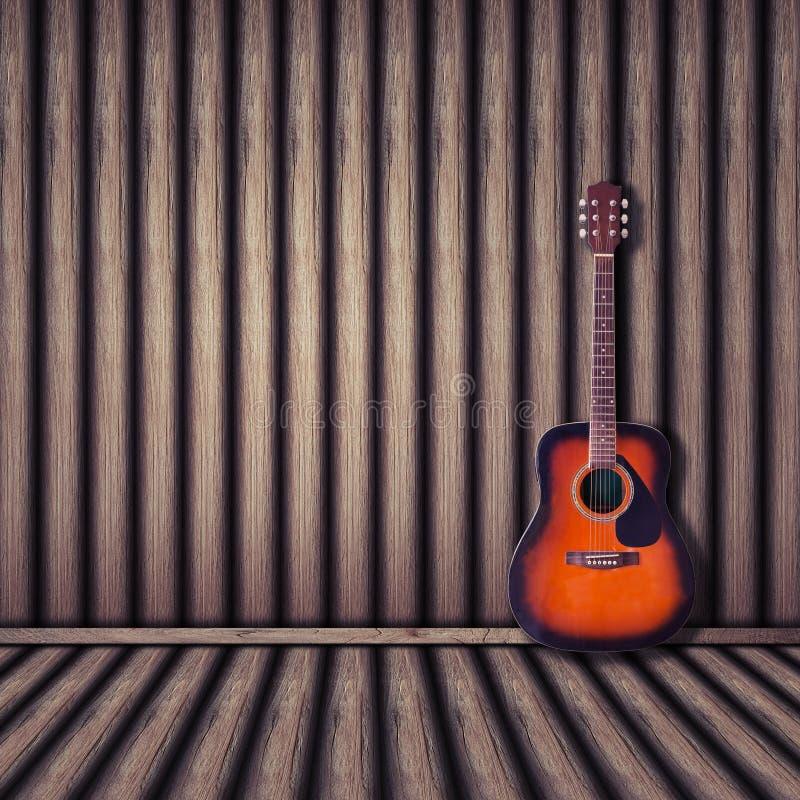 Akoestische gitaar houten achtergrond Uitstekende stijl stock fotografie