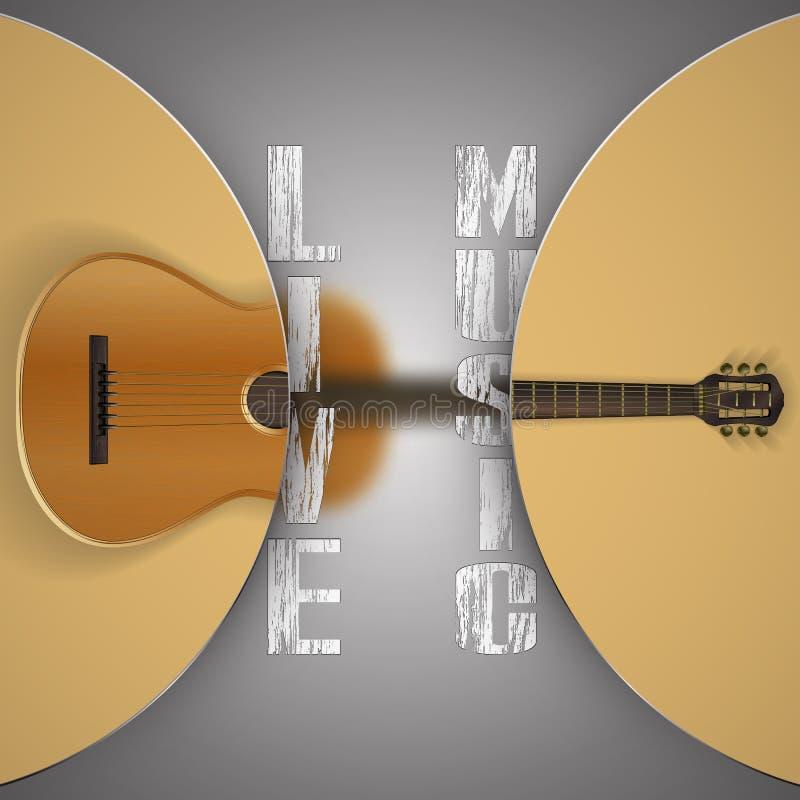 Akoestische gitaar met vage achtergrond vector illustratie