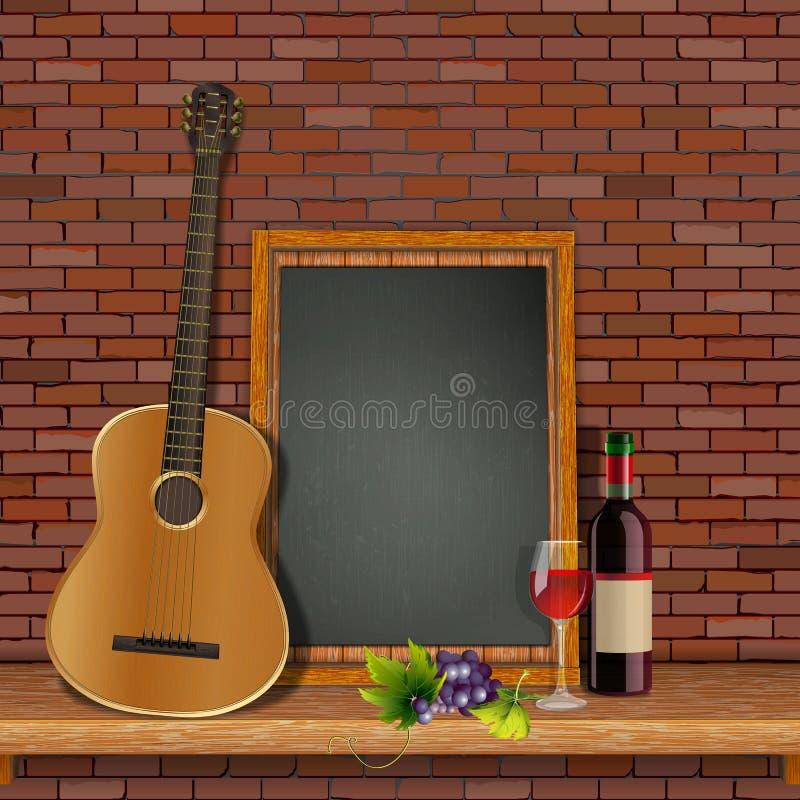 Akoestische gitaar op de plank met royalty-vrije illustratie