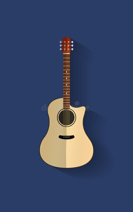 Akoestische gitaar op een blauwe achtergrond stock foto