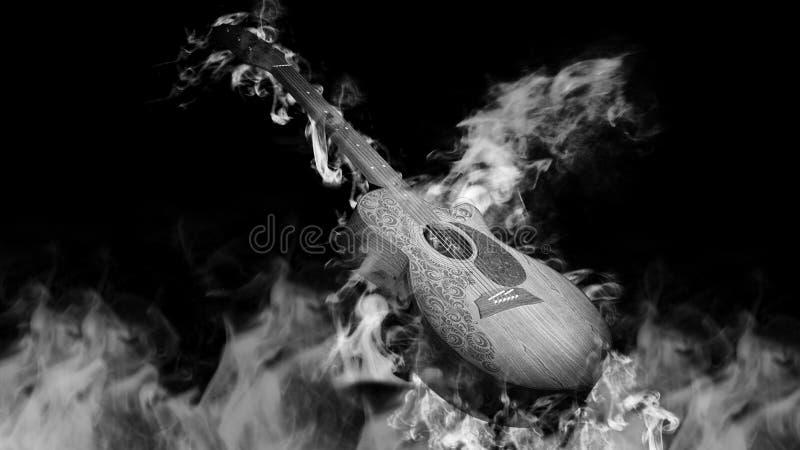 Akoestische Klassieke Gitaar in Rook op zwarte stock afbeeldingen