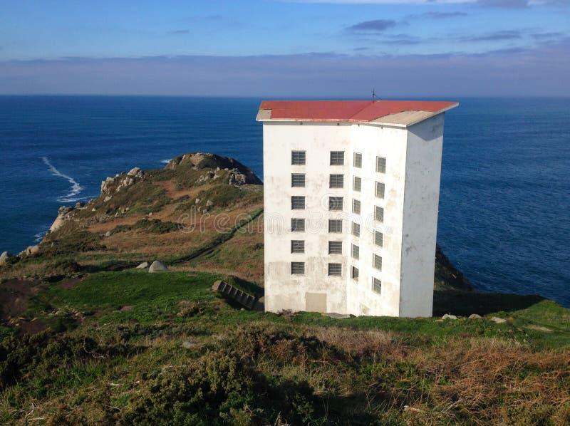 Akoestische sirene van de Estaca DE Bares vuurtoren, een Coruna, Galicië, Noordelijk Spanje royalty-vrije stock foto