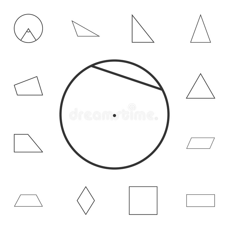 akord okręgu konturu ikona Szczegółowy set geometryczna postać Premia graficzny projekt Jeden inkasowe ikony dla stron internetow royalty ilustracja