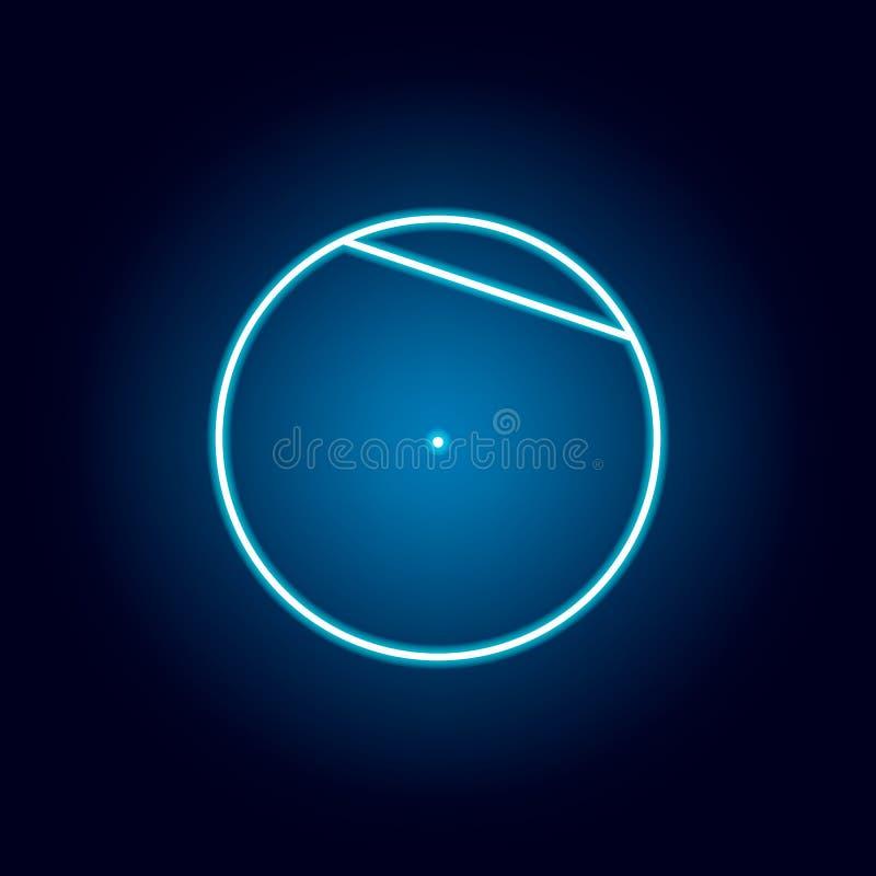 akord okr?g ikona w neonowym stylu Geometryczny posta? element dla mobilnych poj?cia i sieci apps Cienka kreskowa ikona dla stron royalty ilustracja