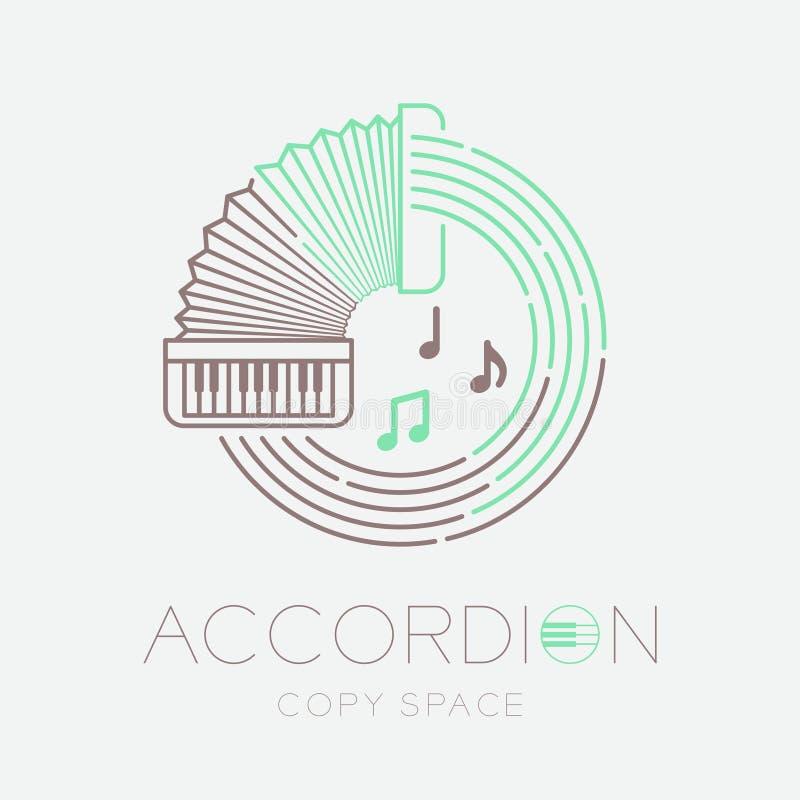 Akordeon, muzyki notatka z linia personelu okręgu kształta logo ikony konturu uderzenia junakowania linii projekta ustaloną ilust ilustracji