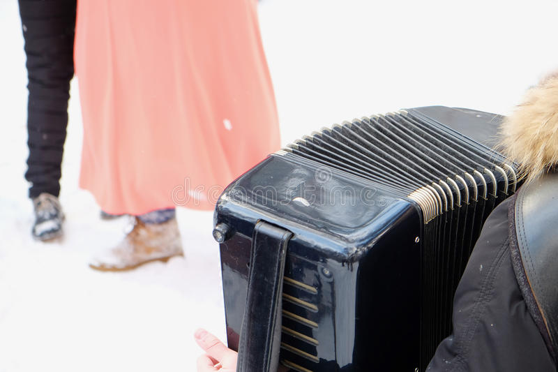 Akordeon przy festiwalem zdjęcia royalty free
