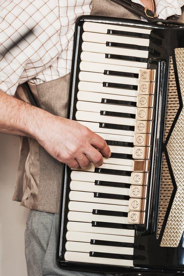 Akordeonista bawić się akordeon, pionowo fotografia royalty free