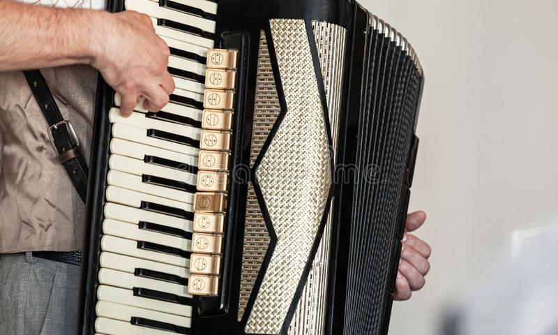 Akordeonista bawi? si? akordeon, zako?czenie w g?r? zdjęcie stock