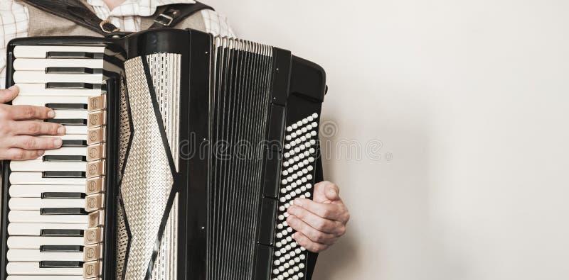 Akordeonista bawić się retro akordeon obraz royalty free