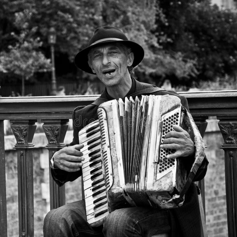 Akordeonista w Paryż - notre Paryż paniusia obrazy royalty free