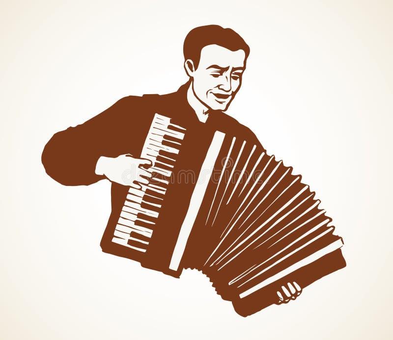 akordeonu mężczyzna sztuka rysuje tła trawy kwiecistego wektora ilustracji