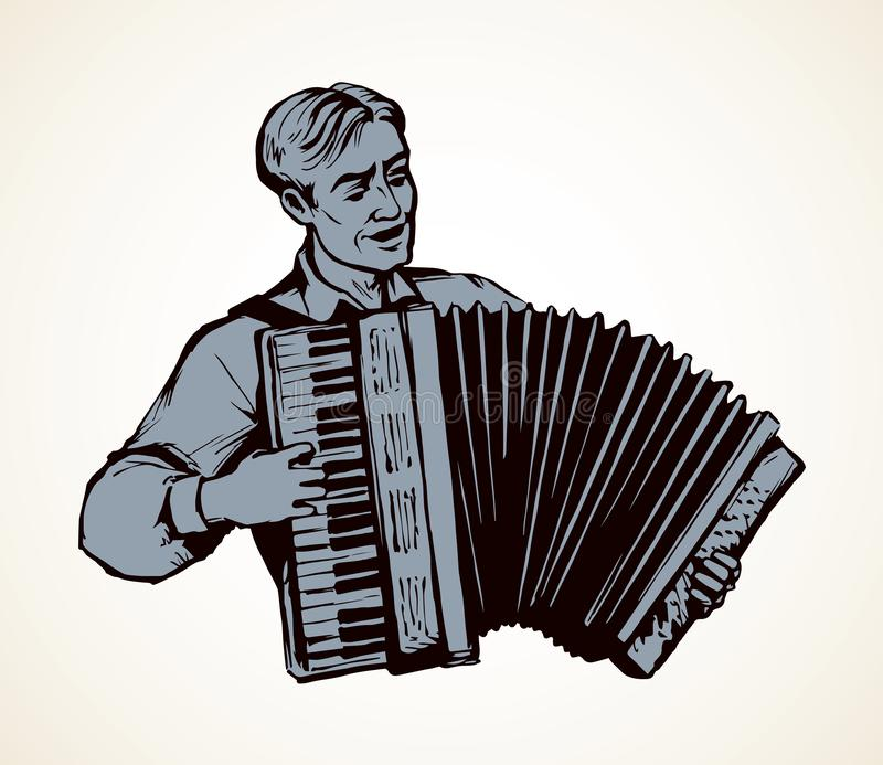 akordeonu m??czyzna sztuka rysuje t?a trawy kwiecistego wektora royalty ilustracja
