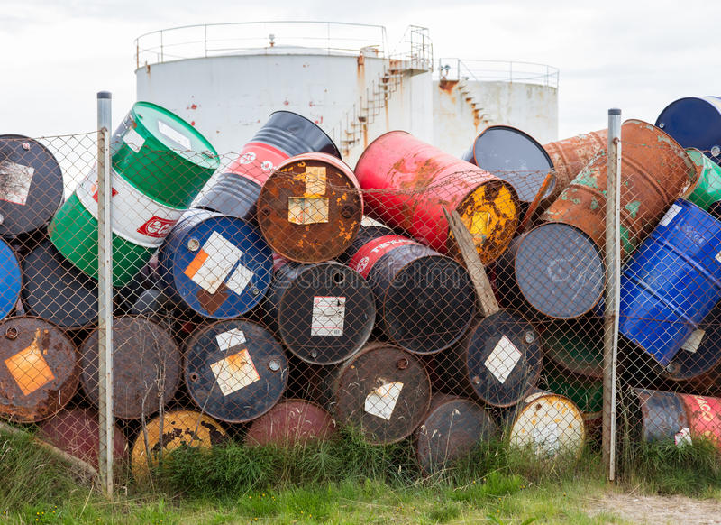 AKRANES, ICELAND - AUGUST 1, 2016: Oil barrels or chemical drums. Stacked up for cargo on August 1, 2016 stock photography