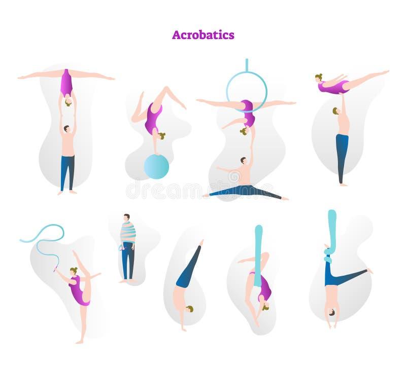 Akrobaci ikony kolekci wektorowy ilustracyjny set Para wykonuje sportowego sport Cyrkowe wyczyn kaskaderski sztuczki z arkaną, ob ilustracja wektor