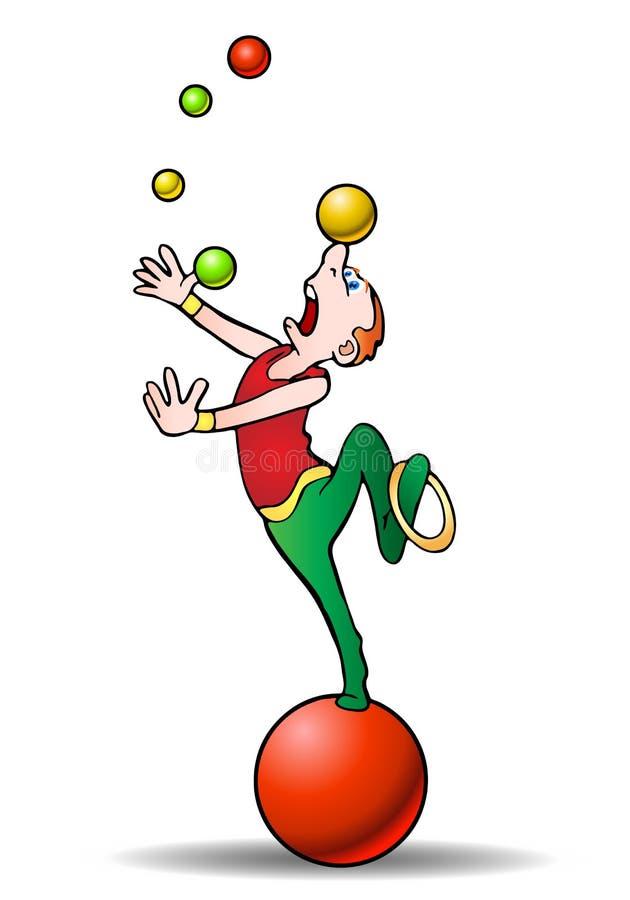 akrobata piłki barwią kuglarskiego wykonawcy royalty ilustracja