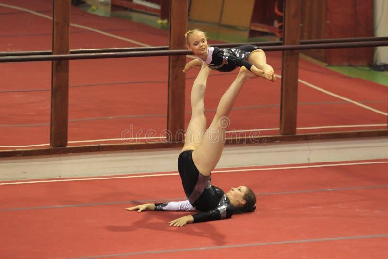 Akrobatisk gymnastik - MTV Erfurt arkivfoto