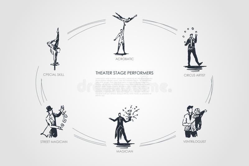 Akrobatisk teateretappkapacitet -, cirkuskonstnär, ventriloguist, trollkarl, gatatrollkarl, special uppsättning för expertisvekto stock illustrationer
