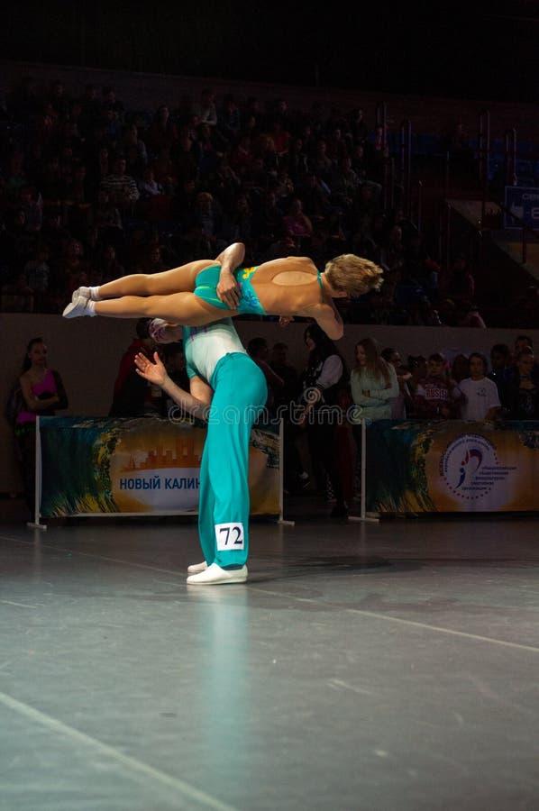Akrobatisk Vagga-n-rulle royaltyfria bilder