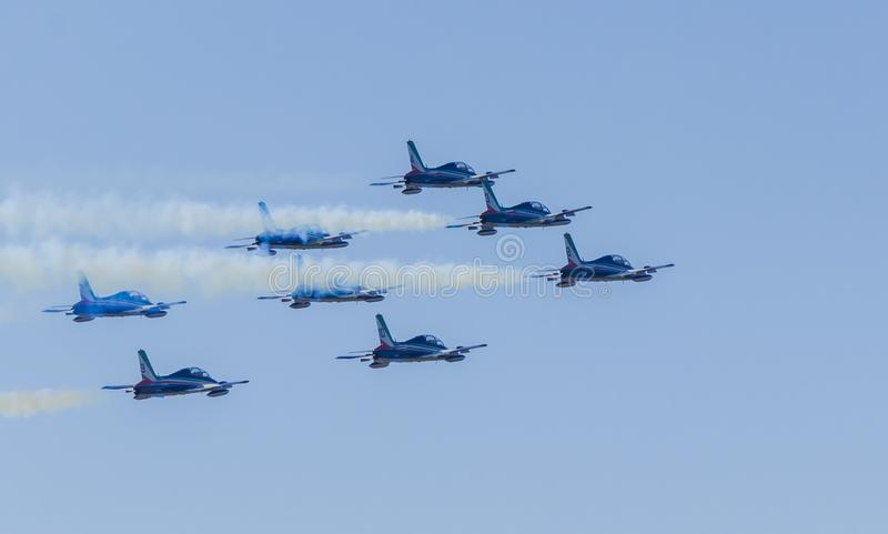 Akrobatiskt lag för italienskt flygvapen fotografering för bildbyråer
