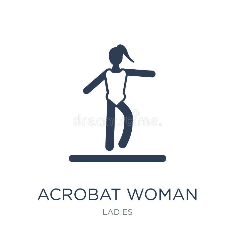 Akrobatkvinnasymbol Moderiktig plan symbol för vektorakrobatkvinna på whi vektor illustrationer
