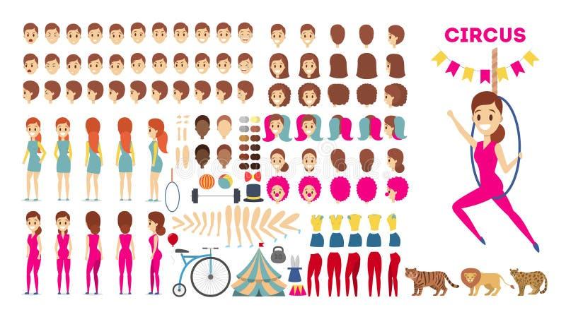 Akrobaty charakter - ustawia dla animacji z różnorodnymi widokami ilustracji