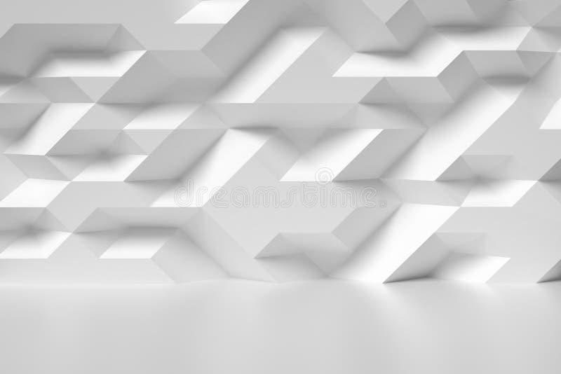 Akromatisk illustration för abstrakt vägg för vitt rum vektor illustrationer