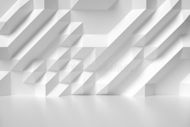 Akromatisk illustration för vit abstrakt rumvägg vektor illustrationer