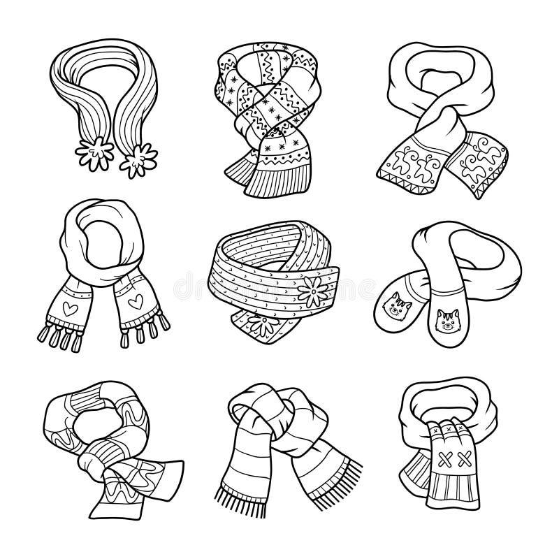 Akromatisk uppsättning för vektor av scarves med djur och prydnader royaltyfri illustrationer