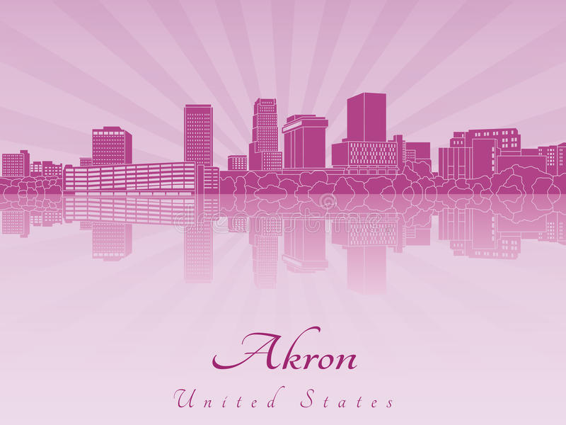 Akron skyline in radiant orchid. In editable vector file vector illustration