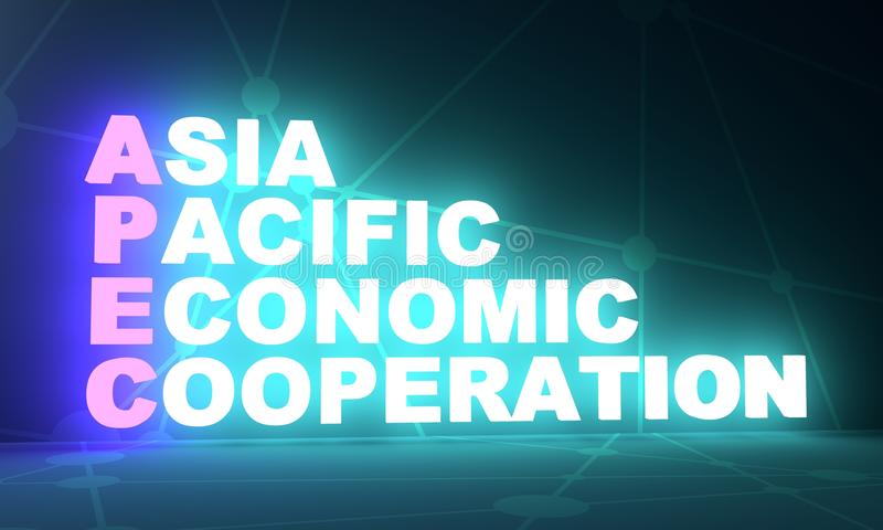 Akronym Asia Pacific för ekonomiskt samarbete stock illustrationer