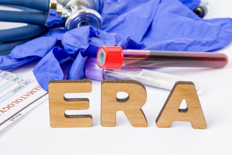 Akronym för kliniskt laboratorium för ERA medicinsk eller förkortning av det östrogenreceptoranalysen eller provet som ut finner, royaltyfri foto