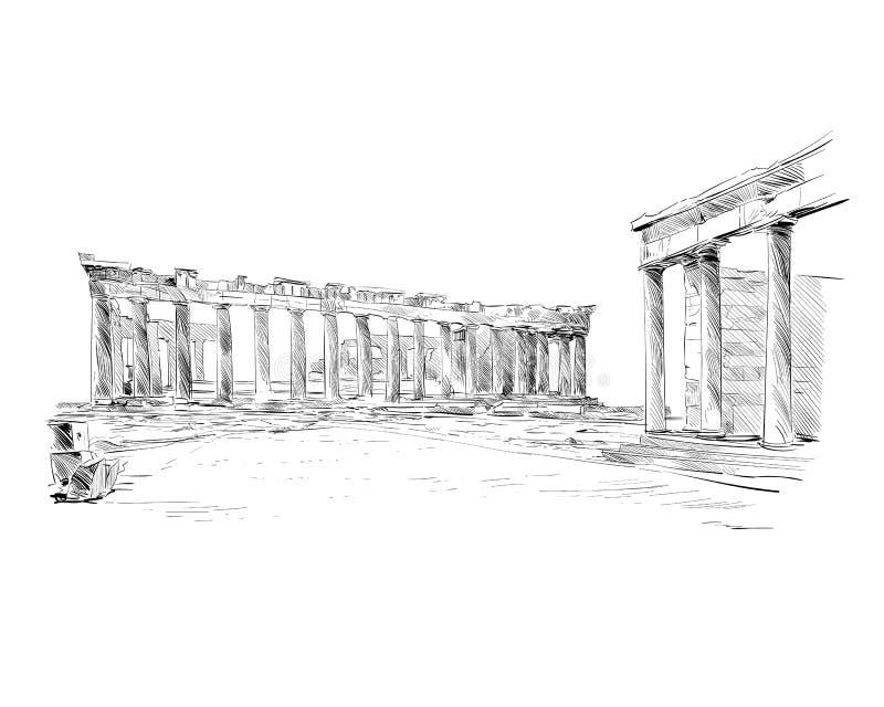 akropol Athens Parthenon athens Grecja Ręka rysujący nakreślenie również zwrócić corel ilustracji wektora ilustracji