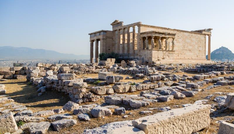 Akropol av Aten. Erechtheion royaltyfri foto