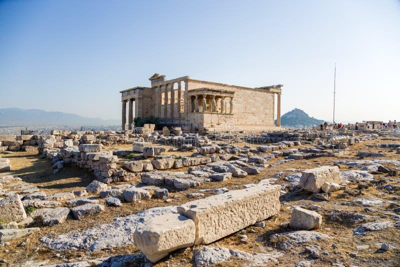 Akropol av Aten. Erechtheion arkivfoton