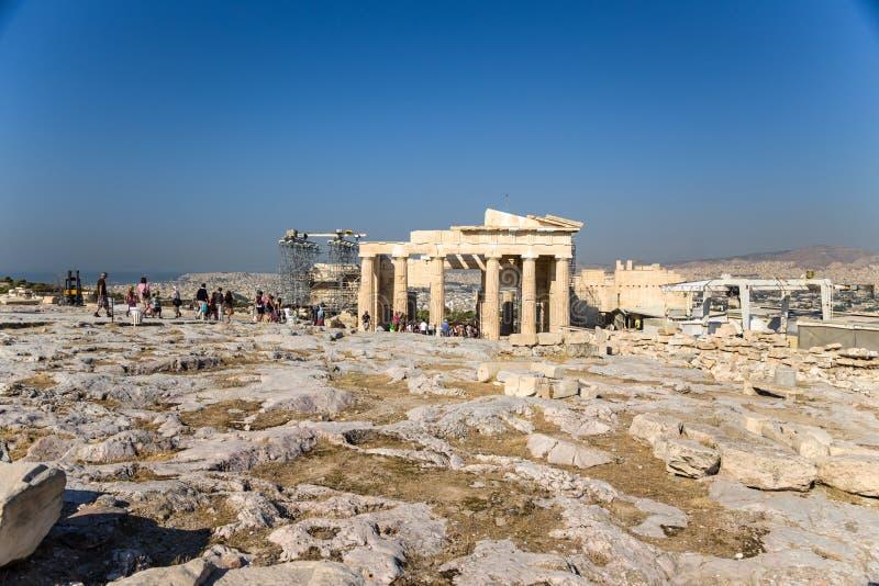 Akropol av Aten. Erechtheion royaltyfri bild