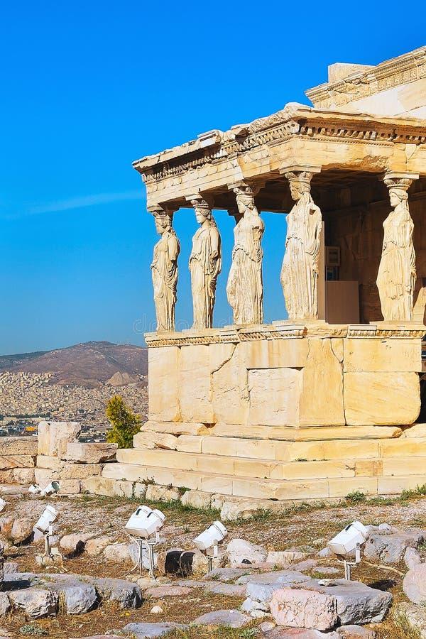 Akropol, Erechtheum świątynia w Ateny, Grecja zdjęcia royalty free