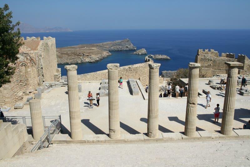 Akropol w Lindos miasteczku w Rhodes obraz royalty free