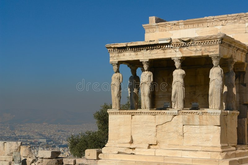 The Akropolis. View of the porch of the Caryatids of the Erechtheion, in the Akropolils of Athens, Greece royalty free stock image