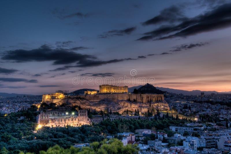 Akropolis Athene bij zonsopgang stock fotografie