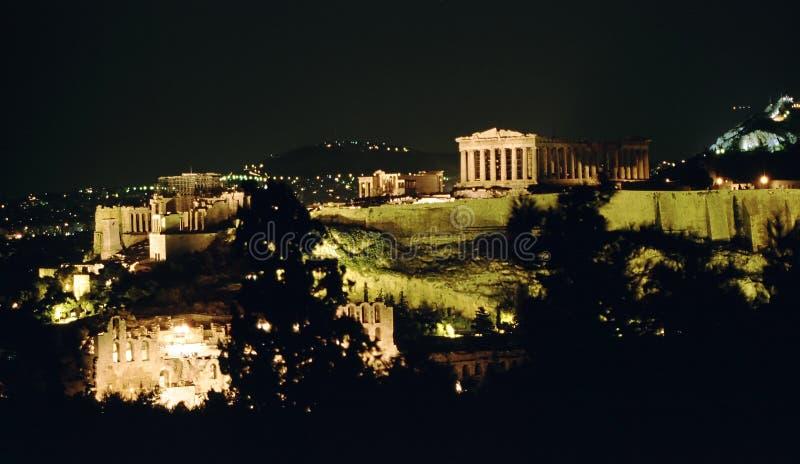 Akropolis bij de nacht, Athene, stock fotografie