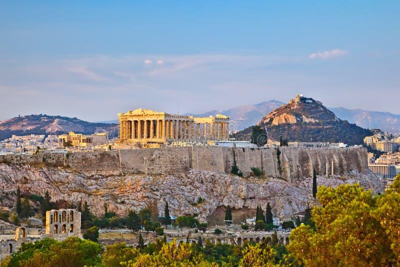 Akropolis bij zonsondergang stock afbeeldingen