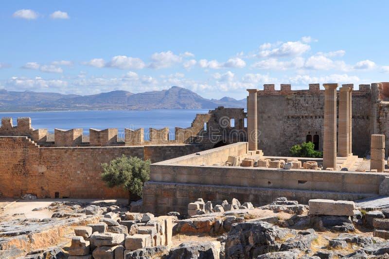 Akropolis Lindos stock afbeelding