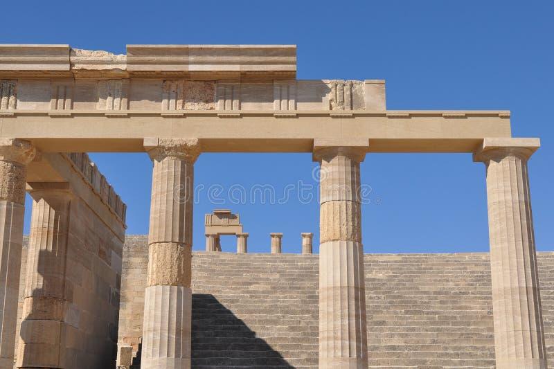 Akropolis Lindos, eiland Rhodos, Griekenland royalty-vrije stock foto's