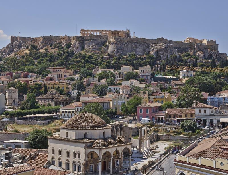 Akropolis und Plaka, Athen Griechenland lizenzfreies stockfoto