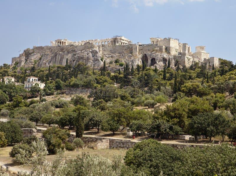 Akropolis Van Agora Van Athene Stock Afbeelding