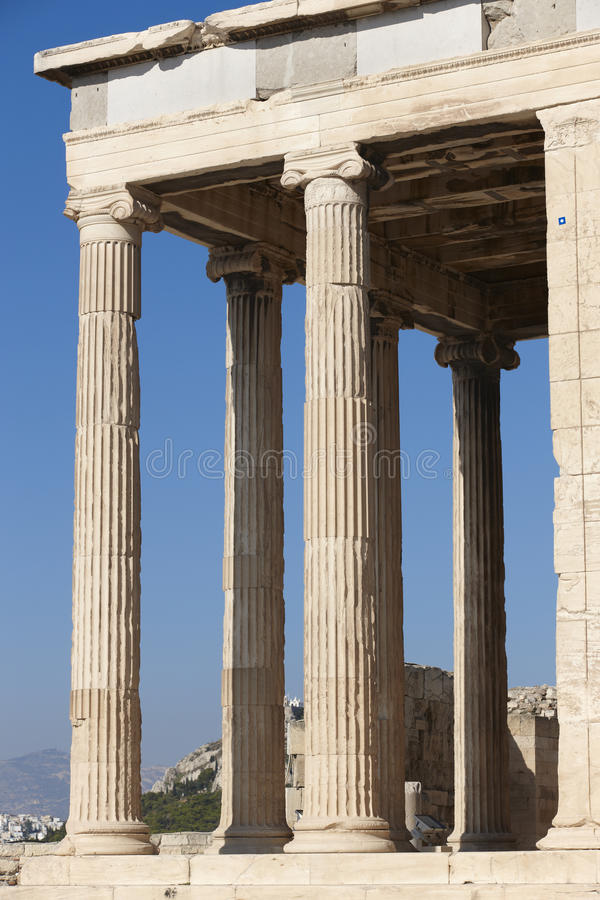 Akropolis van Athene Erechtheionkolommen Griekenland royalty-vrije stock afbeelding
