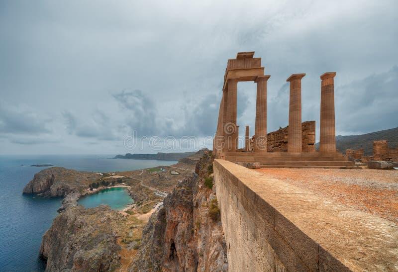 Akropolis van Lindos stock afbeeldingen